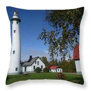 Presque Isle Mi Lighthouse 4 Throw Pillow