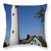 Presque Isle Mi Lighthouse 5 Throw Pillow