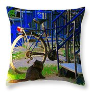Pretty Cat In Verdun Taking The Sun Blue Picket Fence And Bike Montreal Garden Scene Carole Spandau  Throw Pillow