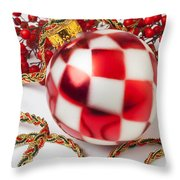 Pretty Christmas Ornament Throw Pillow