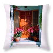 Pretty House Door In Key West Throw Pillow by Susanne Van Hulst