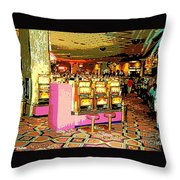 Pretty In Pink Bar Stools And Slots Reserved For Spring Break High Rollers   Throw Pillow