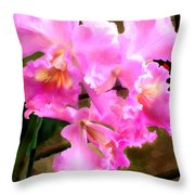 Pretty In Pink Cattleya Orchids Throw Pillow