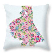 Pretty In Pink Flower Girl Throw Pillow