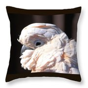 Pretty In Pink Salmon-crested Cockatoo Portrait Throw Pillow