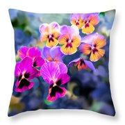 Pretty Pansies 3 Throw Pillow