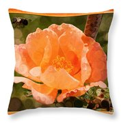 Pretty Peachy Rose Abstract Flower Throw Pillow