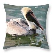 Pretty Pelican In Pond Throw Pillow by Carol Groenen