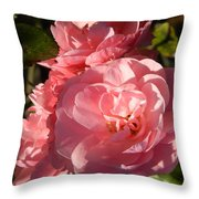 Pretty Pink Bunch Of Roses Throw Pillow