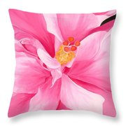 Dancing Hibiscus Painting Throw Pillow