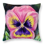 Pretty Pink Pansy Person Throw Pillow