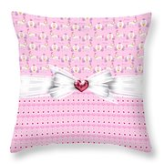 Pretty Pink Princess Throw Pillow by Debra  Miller