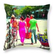 Pretty Pink Summer Dress Sunny Stroll Licari St Denis Scene Montreal Bike Racks And Flowers Cspandau Throw Pillow