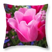 Pretty Pink Tulip And Field With Flowers And Tulips Throw Pillow