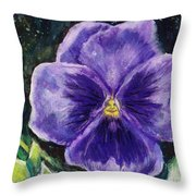 Pretty Purple Pansy Person Throw Pillow