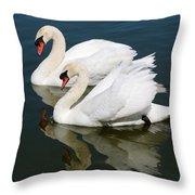 Pretty Swan Pair Throw Pillow