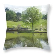 Pretty Tree In Park Picture.  Throw Pillow