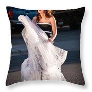 Pretty Woman With Gun Behind The Veil Throw Pillow