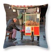 Pretzel Seller With Pushcart Istanbul Turkey Throw Pillow