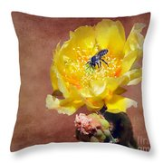 Prickly Pear And Bee Throw Pillow