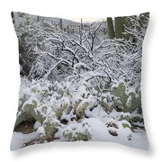 Prickly Pear And Saguaro Cacti Throw Pillow