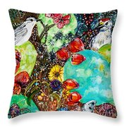 Prickly Pear Cactus And Friends, Southwestern Region Throw Pillow