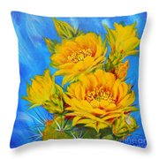 Prickly Pear In Bloom Throw Pillow by Summer Celeste