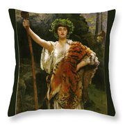 Priestess Bacchus Throw Pillow by John Collier