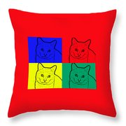 Primary And Green Cats Throw Pillow