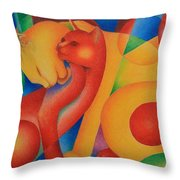 Primary Cats Throw Pillow
