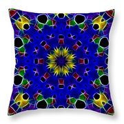 Primary Colors Fractal Kaleidoscope Throw Pillow