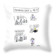 Primary Day In New York Throw Pillow