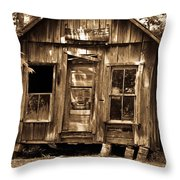 Primative Post Office Cabin In Sepia Throw Pillow