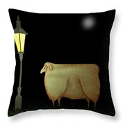 Primitive Sheep Midnight Snack By Lamplight Throw Pillow