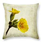 Primula Pacific Giant Yellow Throw Pillow by John Edwards