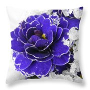 Primulas In The Snow Throw Pillow