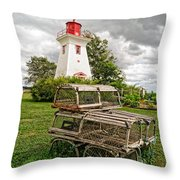 Prince Edward Island Lighthouse With Lobster Traps Throw Pillow by Edward Fielding