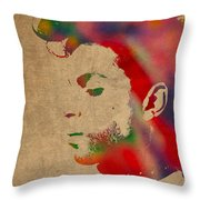 Prince Watercolor Portrait On Worn Distressed Canvas Throw Pillow