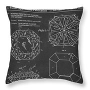 Princess Cut Diamond Patent Barcode Gray Throw Pillow