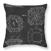 Princess Cut Diamond Patent Gray Throw Pillow