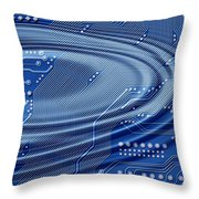 Printed Circuit With Waves Throw Pillow
