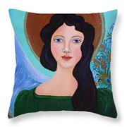 Priscilla  The Balancing Angel Of Love Throw Pillow
