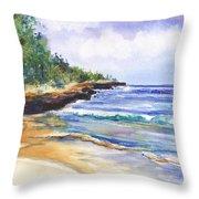 Pristine Mahaulepu Beach Throw Pillow