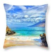 Private Beach At Wailea Maui Throw Pillow