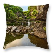 Private Pool Paradise - The Beautiful Scene Of The Seven Sacred Pools Of Maui. Throw Pillow