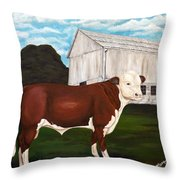 Prize Bull Throw Pillow
