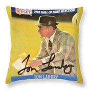 Pro Football Coach Tom Landry Throw Pillow