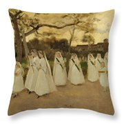 Procession Of Schoolgirls Throw Pillow