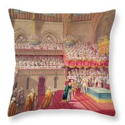 Procession Of The Dean And Prebendaries Of Westminster Bearing The Regalia, From An Album Throw Pillow