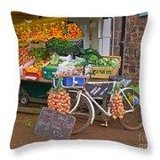 Produce Market In Corbridge Throw Pillow